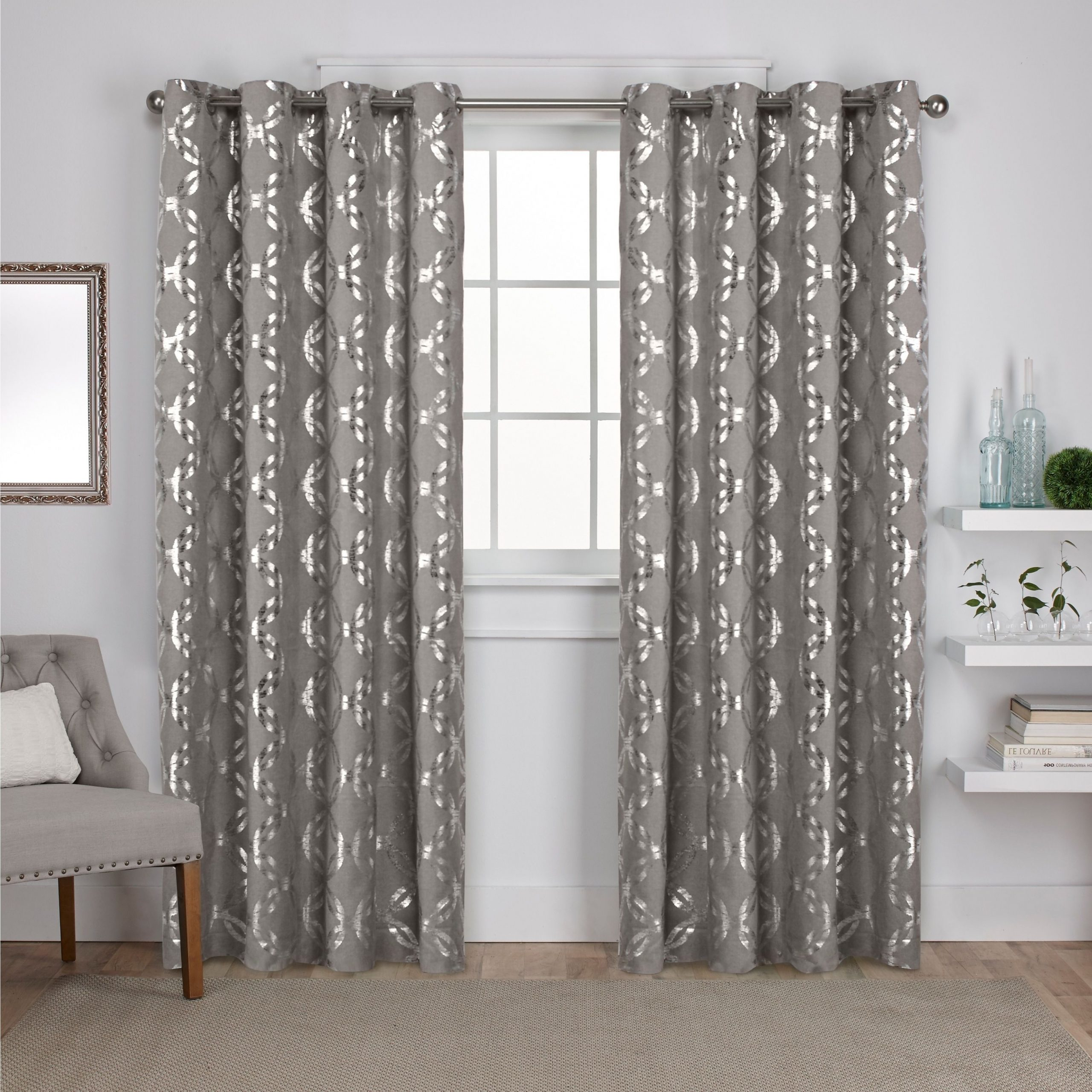 Total Blackout Metallic Print Grommet Top Curtain Panels Throughout Favorite Ati Home Modo Metallic (grey) Geometric Curtain Panel Pair (View 11 of 20)