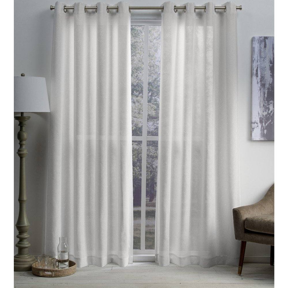 Total Blackout Metallic Print Grommet Top Curtain Panels With Current Exclusive Home Curtains Sparkles Heavyweight Metallic Fleck Textured Linen Window Curtain Panel Pair With Grommet Top, 54x84, Winter White, 2 Piece (View 20 of 20)