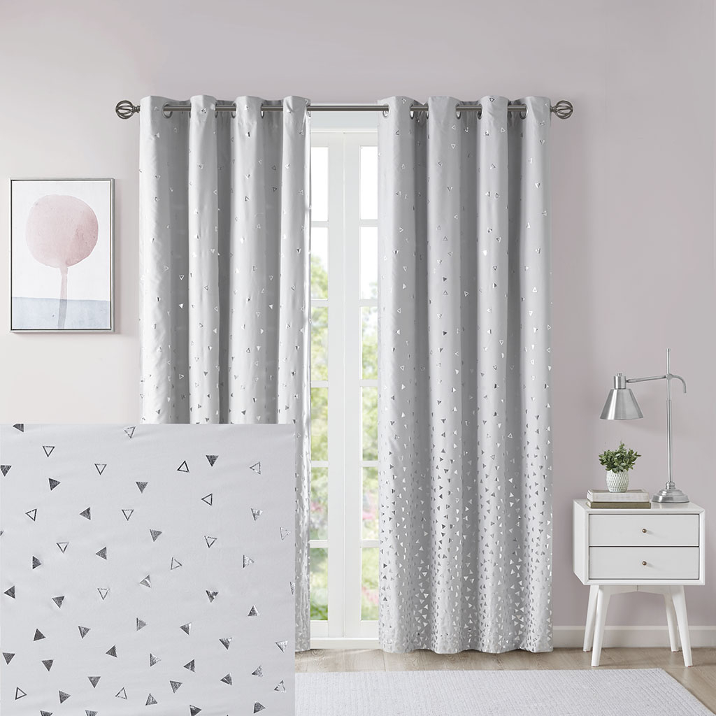 Total Blackout Metallic Print Grommet Top Curtain Panels With Most Popular Details About Intelligent Design Zoey Total Blackout Printed Metallic Window Panel (View 10 of 20)