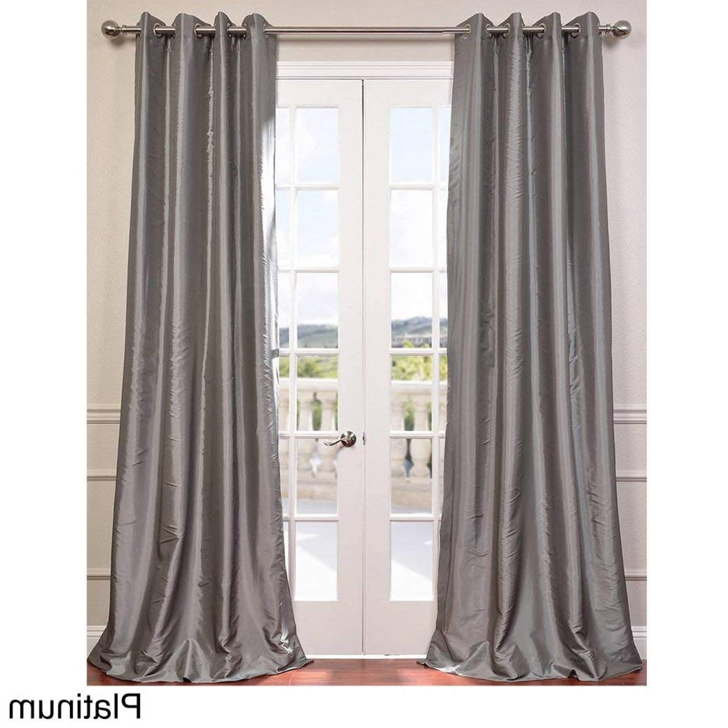 Trendy 1 Piece Platinum Faux Silk Taffeta Window Curtain 120 Inches Within Faux Silk Taffeta Solid Blackout Single Curtain Panels (View 18 of 20)