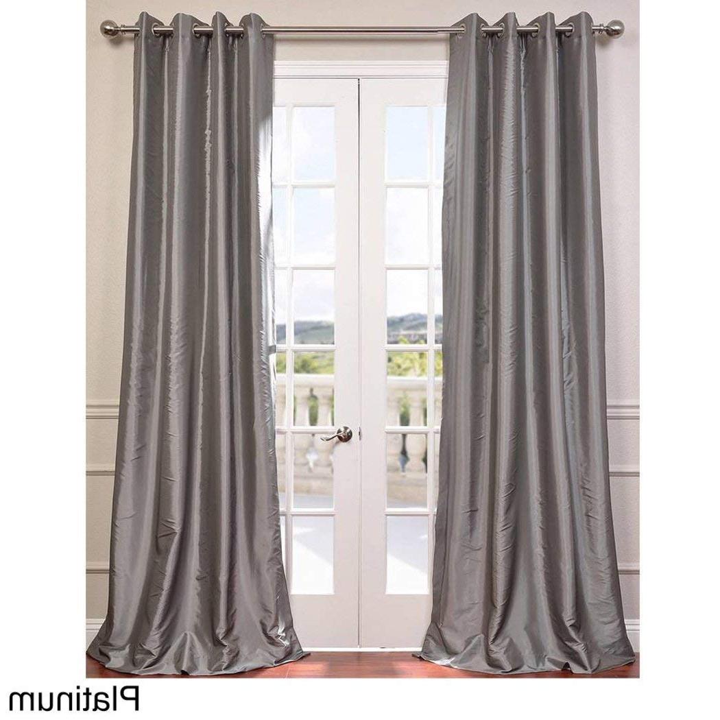 Trendy 1 Piece Platinum Faux Silk Taffeta Window Curtain 120 Inches Within Faux Silk Taffeta Solid Blackout Single Curtain Panels (View 12 of 20)