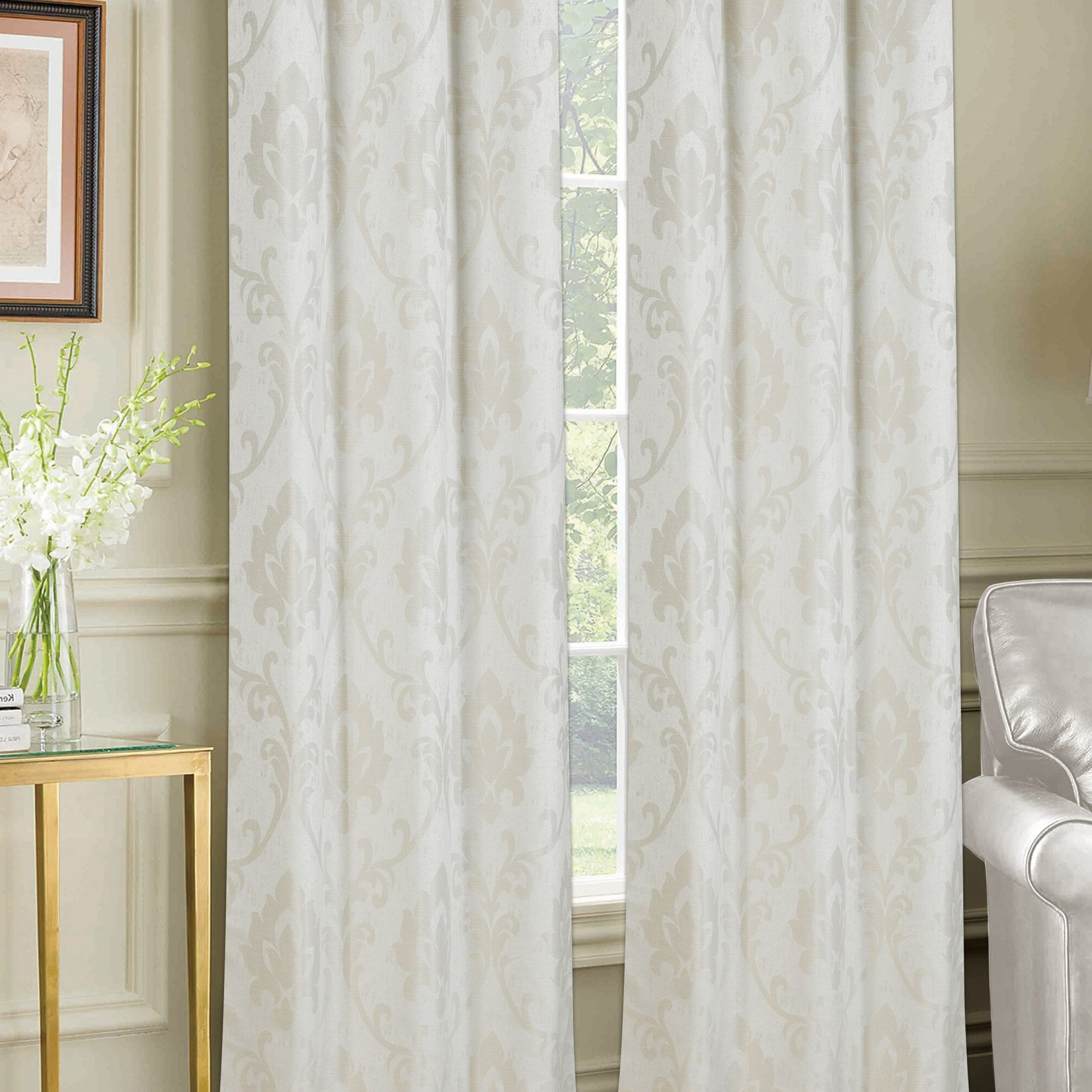 Trendy Andorra Watercolor Floral Textured Sheer Single Curtain Panels Throughout Maryville Window Damask Room Darkening Grommet Curtain Panels (View 16 of 20)