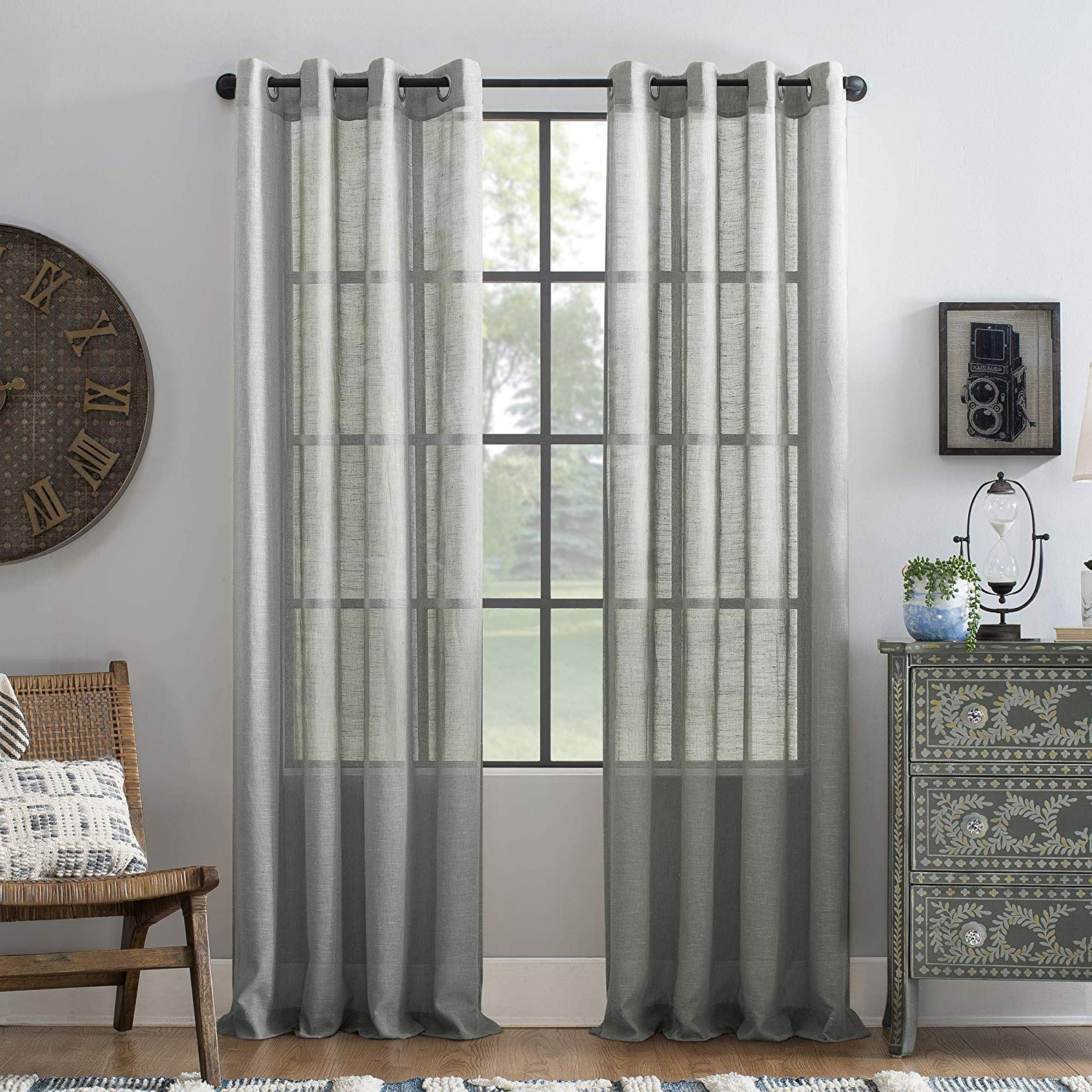 "Trendy Archaeo Slub Textured Linen Blend Grommet Top Curtain, 52"" X 84"", Gray Regarding Archaeo Slub Textured Linen Blend Grommet Top Curtains (View 19 of 20)"