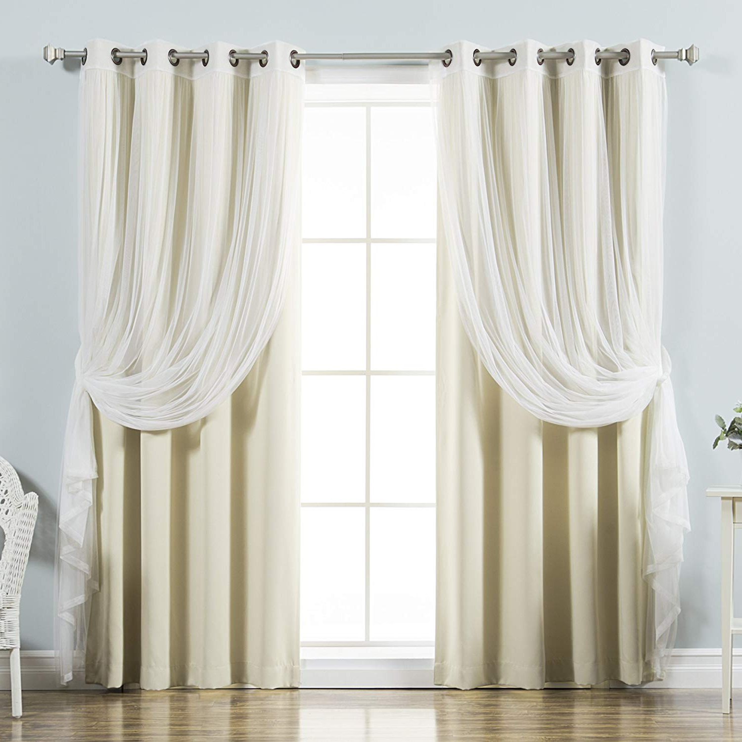 """Trendy Best Home Fashion Mix & Match Tulle Sheer Lace & Blackout Curtain Set – Antique Bronze Grommet Top – Beige – 52""""wx 96""""l – (2 Curtains And 2 Sheer Intended For Mix And Match Blackout Tulle Lace Sheer Curtain Panel Sets (View 8 of 20)"""