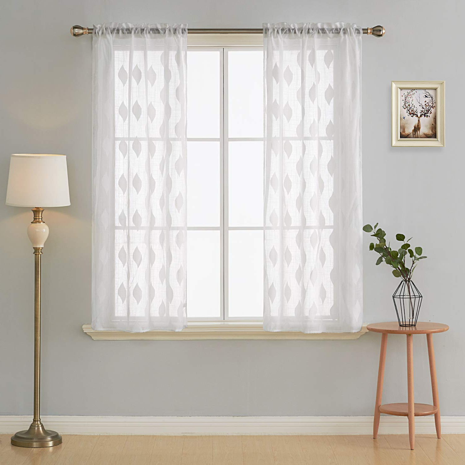 Trendy Deconovo Decorative White Sheer Bedroom Curtains Leaf Pattern Elegant Embroidery Sheer Panels For Kids Room 38x63 Inch 2 Panels Pertaining To Kida Embroidered Sheer Curtain Panels (View 16 of 20)