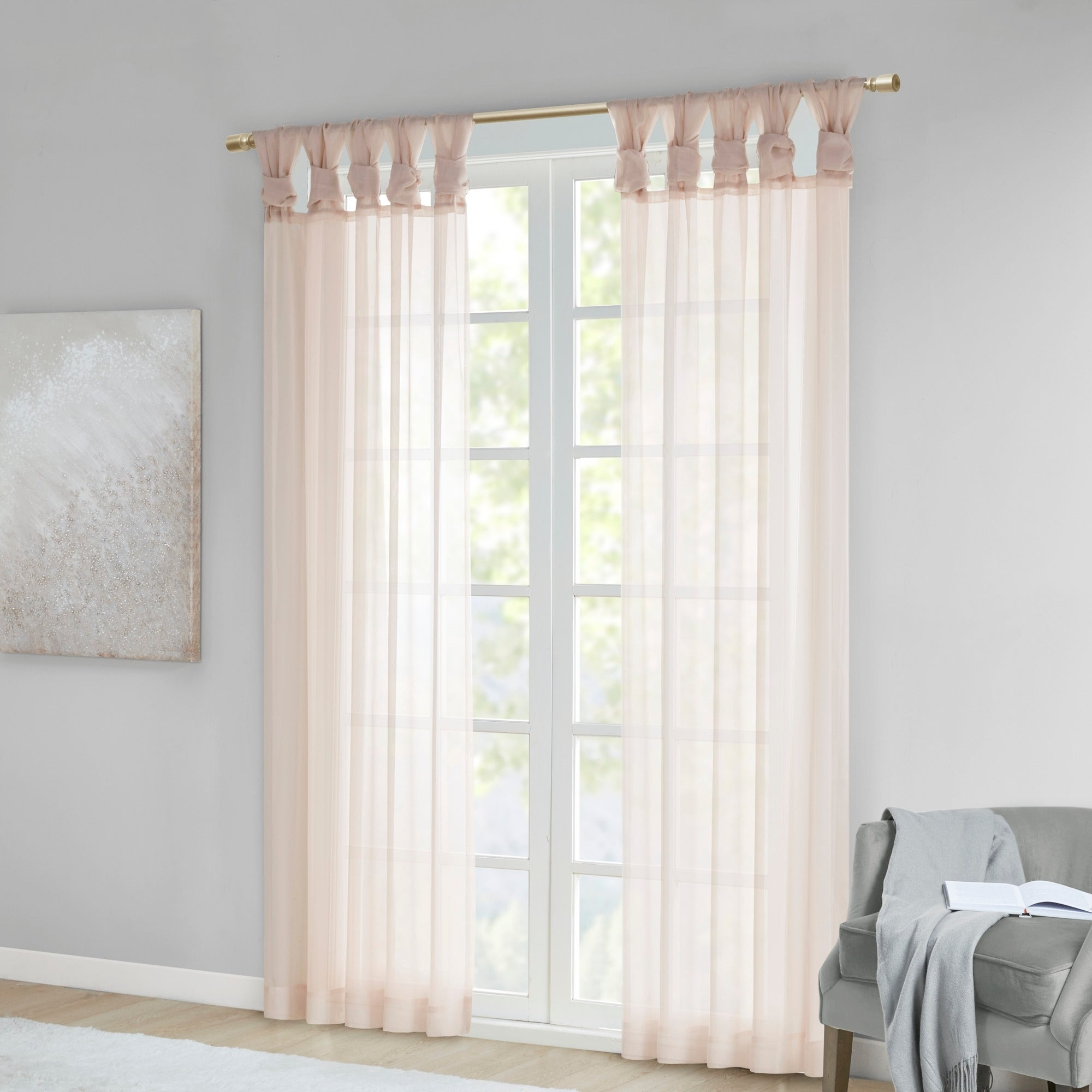 Trendy Elowen White Twist Tab Voile Sheer Curtain Panel Pairs Intended For Madison Park Elowen White Twist Tab Voile Sheer Curtain Panel Pair (View 7 of 20)