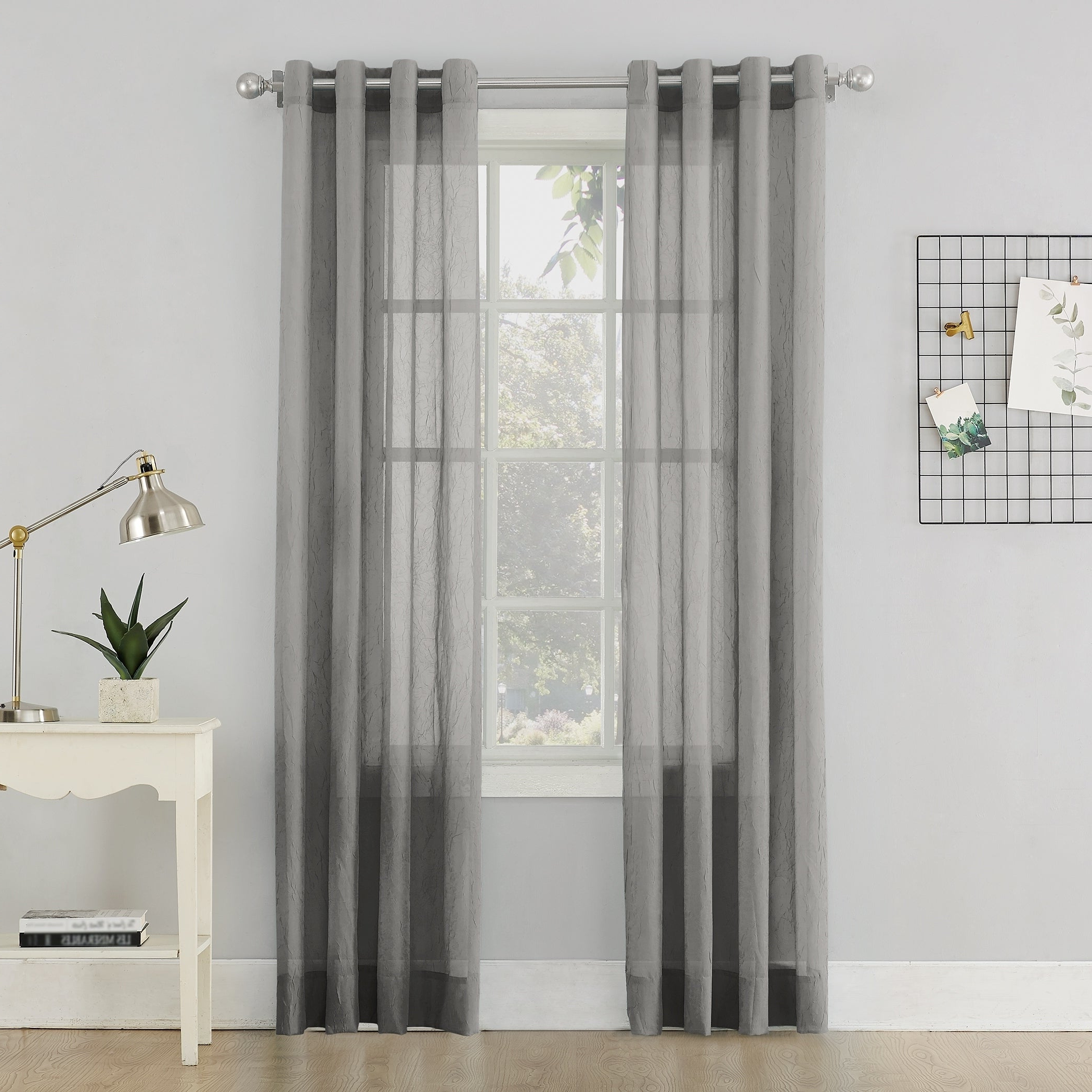 Trendy Erica Crushed Sheer Voile Grommet Curtain Panels Inside No (View 2 of 20)