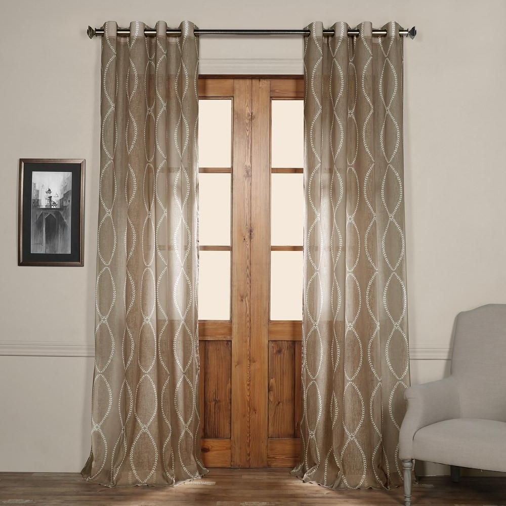Trendy Exclusive Fabrics & Furnishings Grecian Grommet Printed Intended For Oakdale Textured Linen Sheer Grommet Top Curtain Panel Pairs (View 18 of 20)