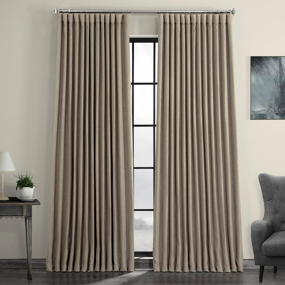 Trendy Exclusive Fabrics & Furnishings Mink Gray Faux Linen Extra Wide Blackout Curtain – 100 In. W X 84 In (View 2 of 21)