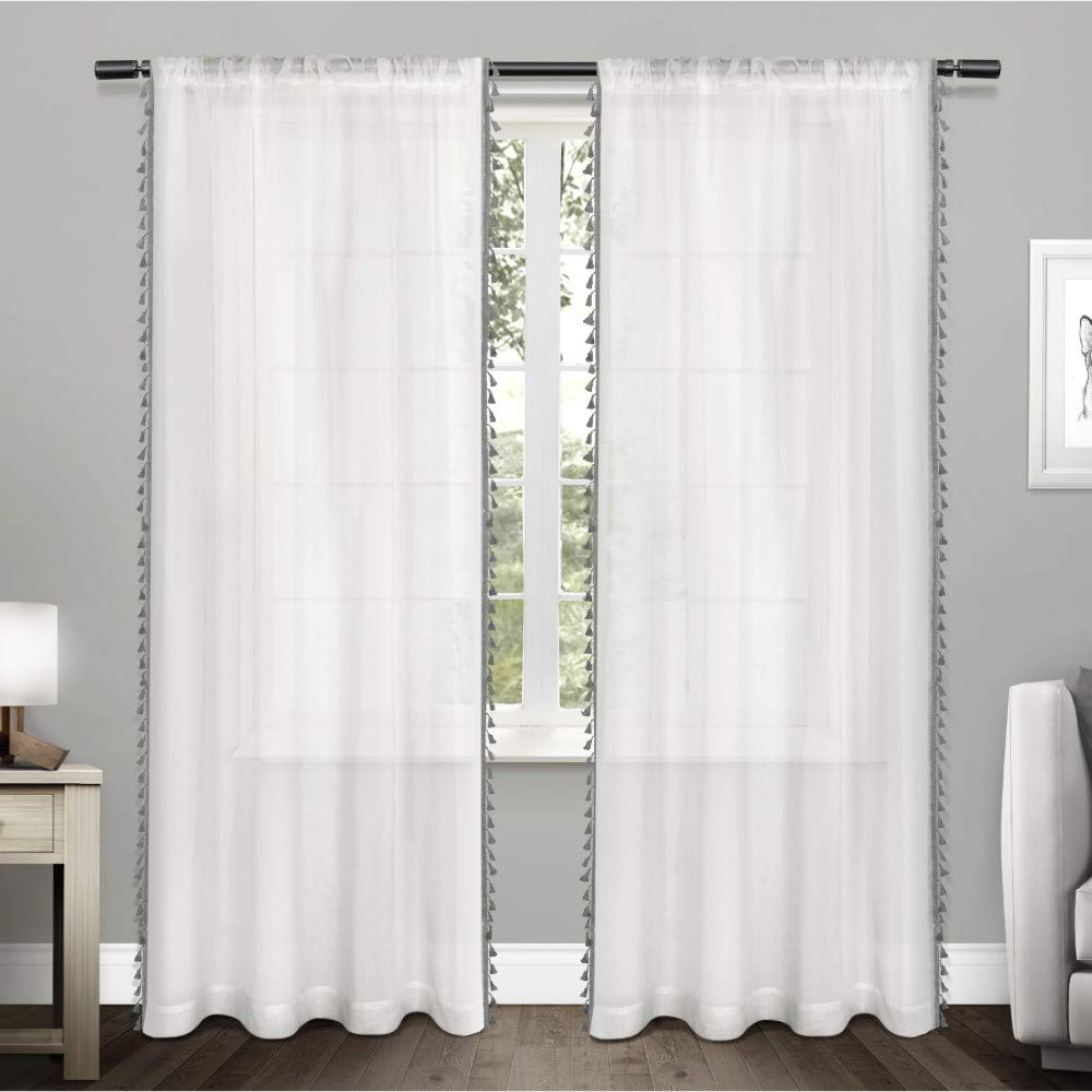 Featured Photo of Tassels Applique Sheer Rod Pocket Top Curtain Panel Pairs