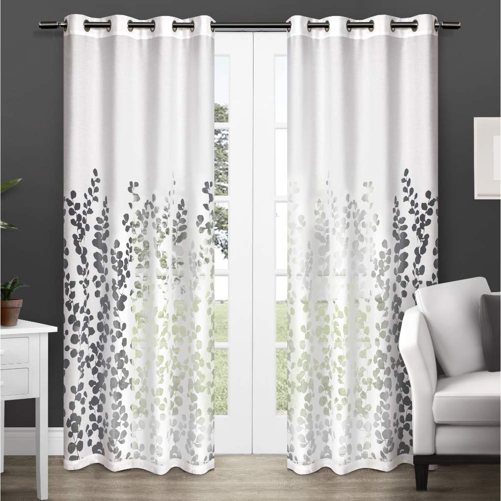 Trendy Exclusive Home Wilshire Burnout Sheer Grommet Top Curtain Panel Pair, Winter White, 52x108, 2 Piece Intended For Penny Sheer Grommet Top Curtain Panel Pairs (View 16 of 20)