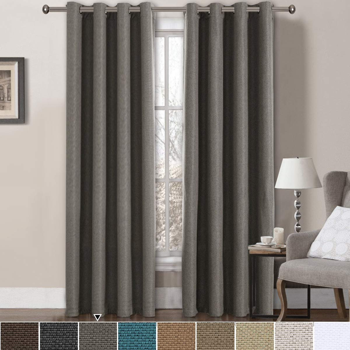 Trendy Faux Linen Blackout Curtains Pertaining To Linen Blackout Curtains 84 Inches Long For Bedroom Heavy Faux Linen Curtain Room Darkening Curtains For Living Room Window Treatments Drapes Burlap (View 20 of 20)