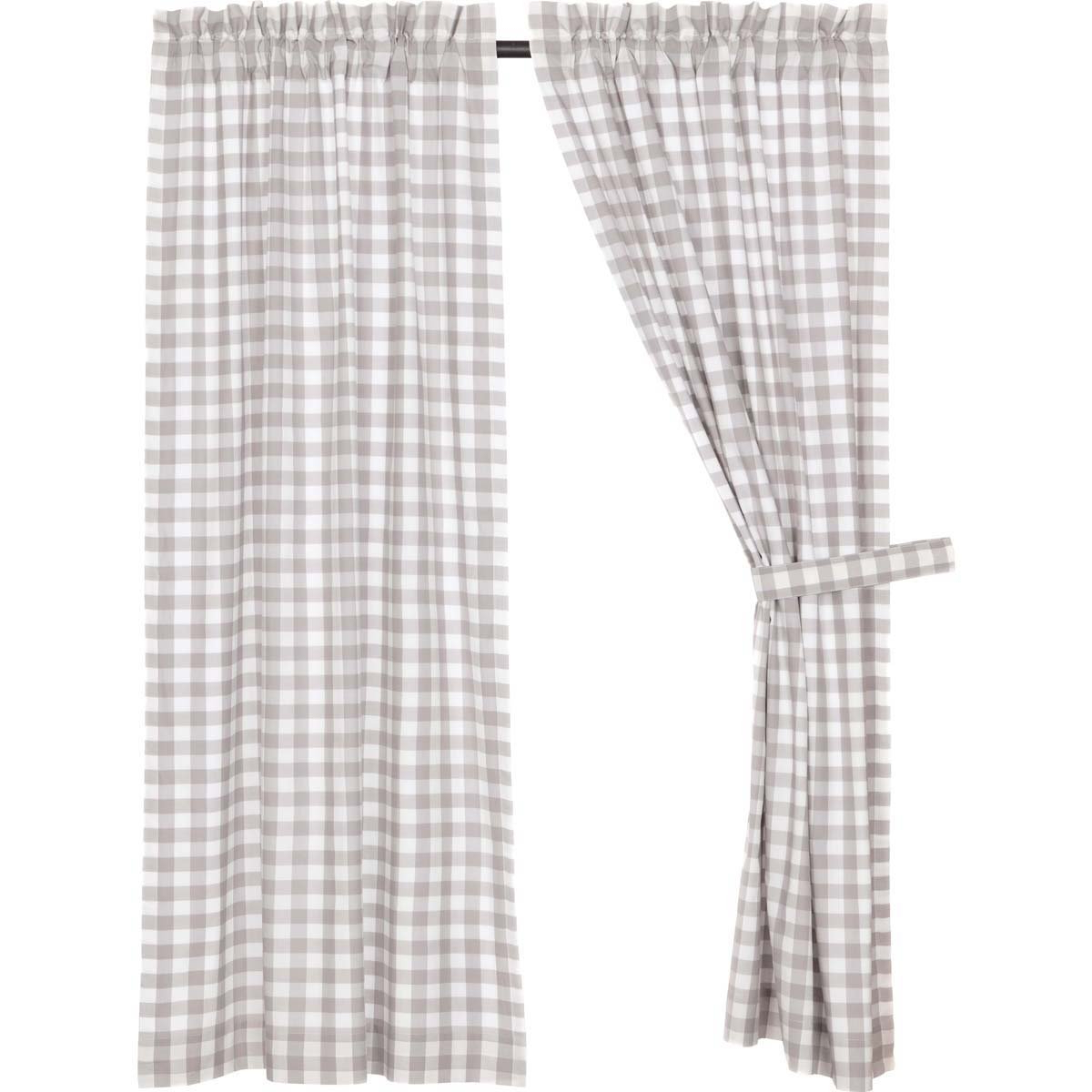 Trendy Grainger Buffalo Check Blackout Window Curtains With Vhc Brands Farmhouse Window Annie Buffalo Check White Lined Short Curtain Panel Pair, Grey (View 12 of 20)