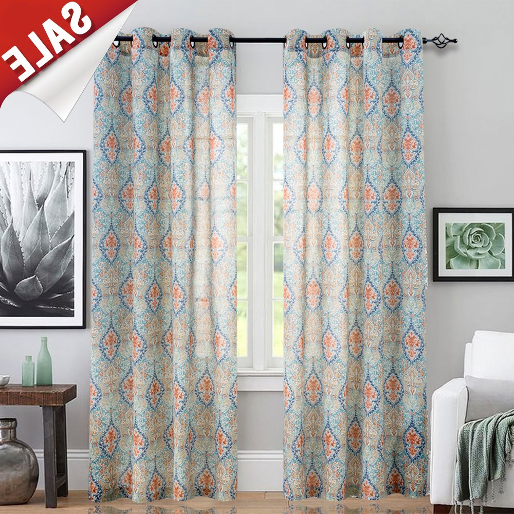 Trendy Grey Printed Curtain Panels For Jinchan Damask Printed Curtains For Bedroom Multicolor Linen Textured Light Reducing Medallion Window Curtain Panels For Living Room 2 Panels 95 Inch (View 16 of 20)