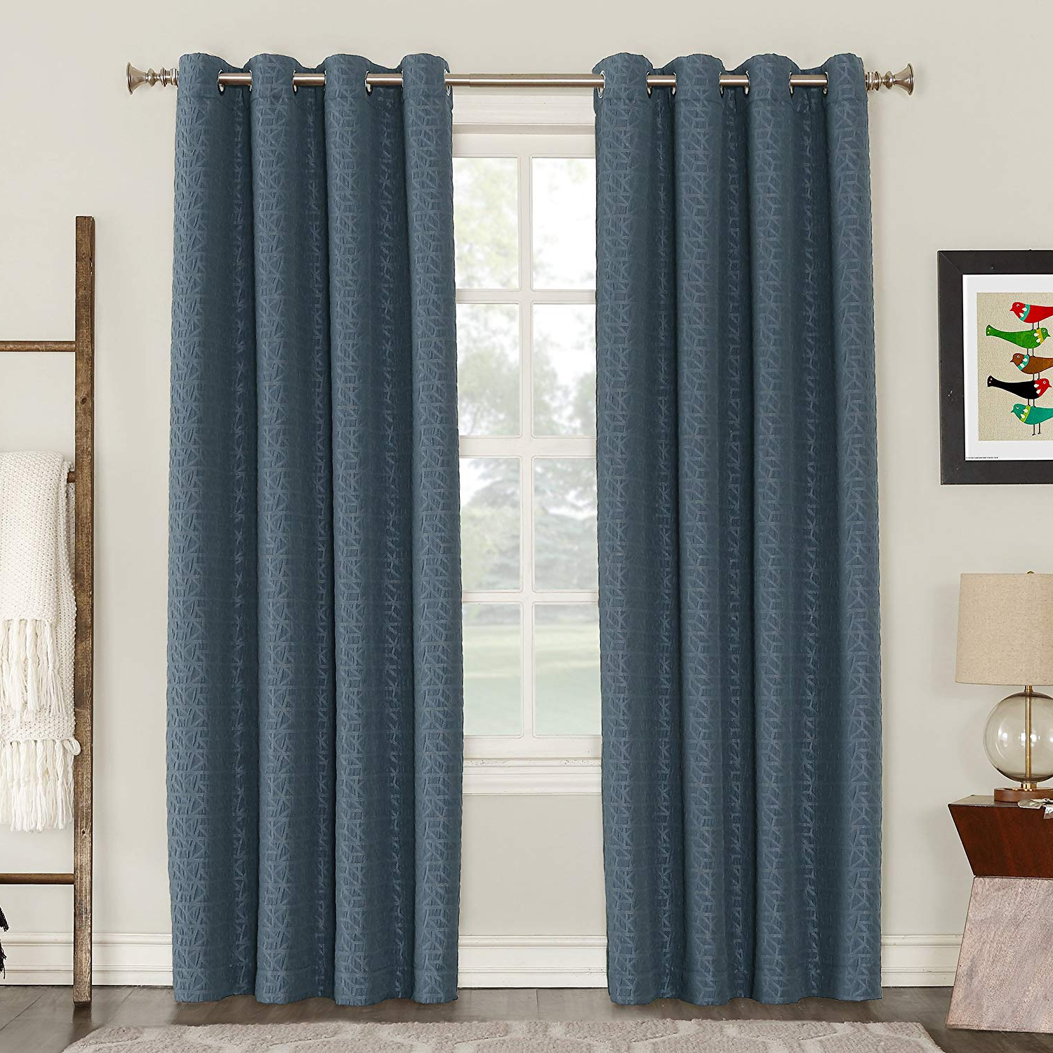 "Trendy Lined Grommet Curtain Panels In Sun Zero Takoda Puckered Geometric Blackout Lined Grommet Curtain Panel, 52"" X 95"", Navy Blue (View 9 of 20)"