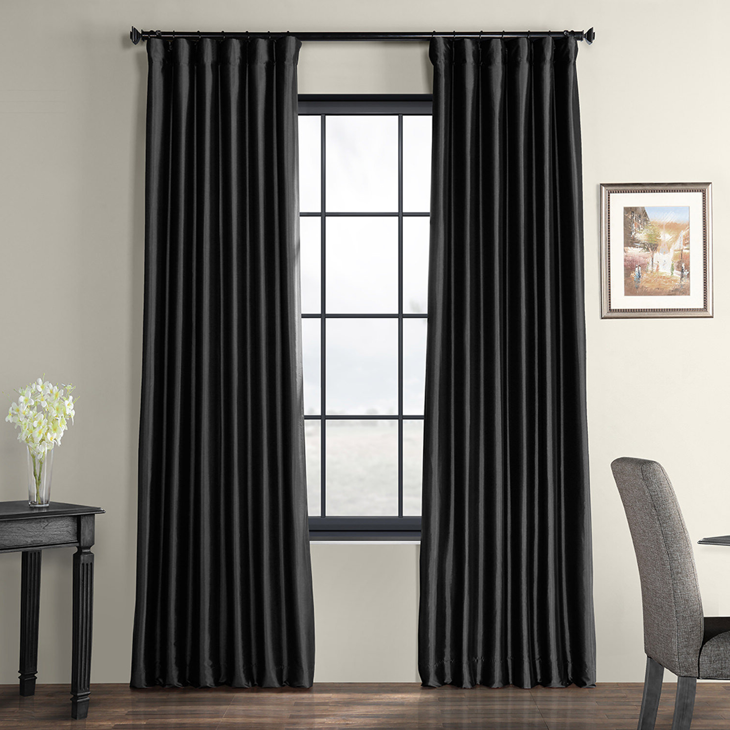 Trendy Lochleven Faux Silk Taffeta Solid Room Polyester Darkening Single Curtain Panel For Solid Faux Silk Taffeta Graphite Single Curtain Panels (View 5 of 20)