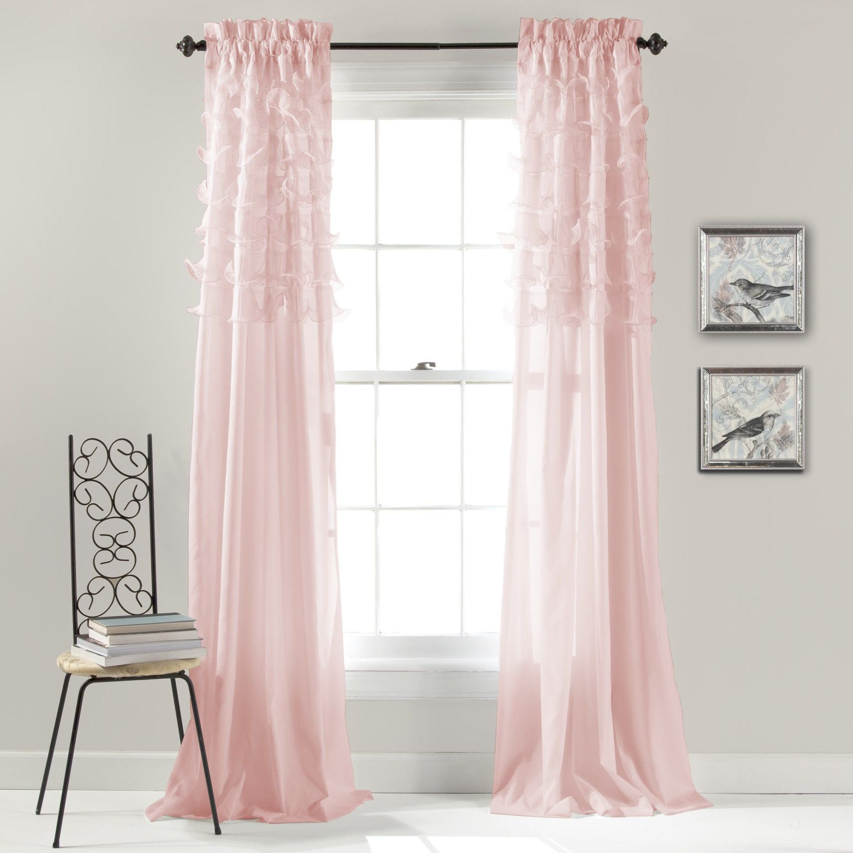 Trendy Lush Decor Avery Curtain Panel Pair – 54 X 84 (Pink Within Lydia Ruffle Window Curtain Panel Pairs (View 20 of 20)
