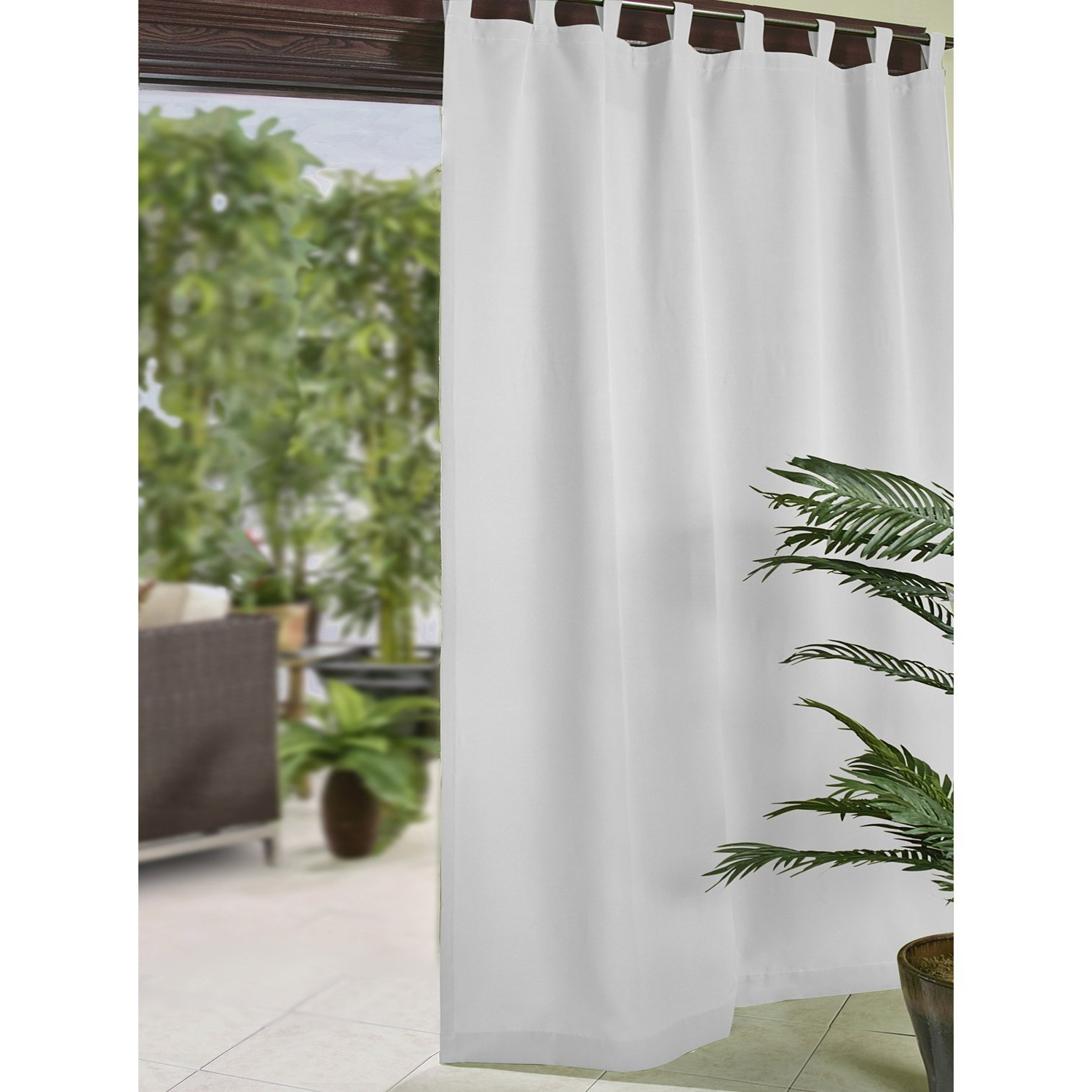 "Trendy Matine Indoor/outdoor Curtain Panels Regarding Elrene Home Fashions Matine Indoor/outdoor Panel: 52""(w) X 84""(l) White (View 9 of 20)"