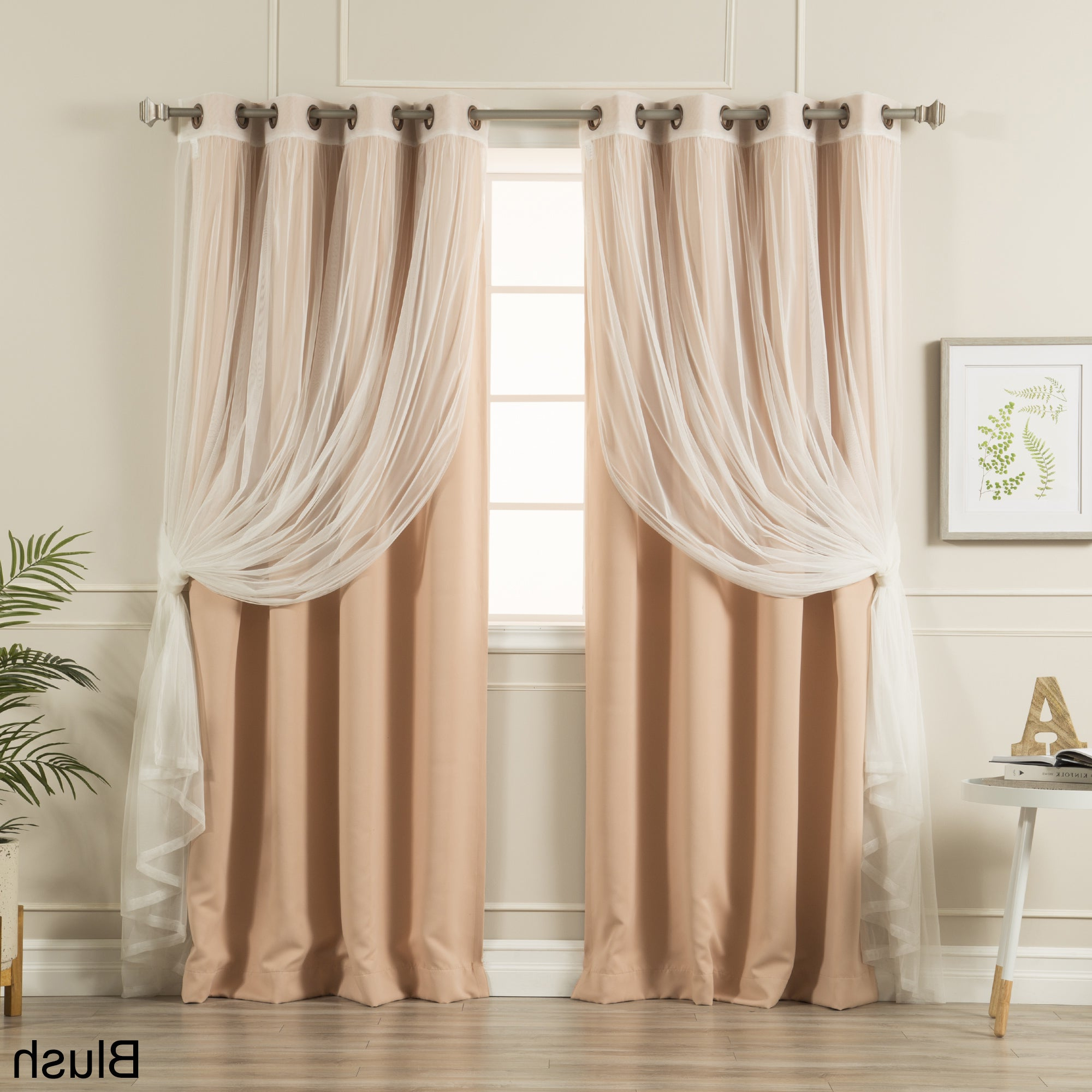 Trendy Mix And Match Blackout Tulle Lace Sheer Curtain Panel Sets Pertaining To Aurora Home Mix And Match Blackout Tulle Lace Sheer 4 Piece Curtain Panel Set (View 5 of 20)