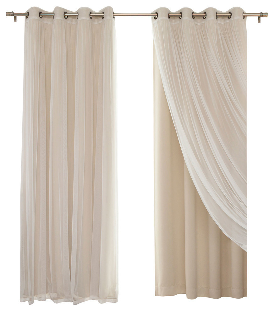"""Trendy Mix & Match Blackout Tulle Lace Bronze Grommet Curtain Panel Sets In Gathered Tulle Sheer And Blackout 4 Piece Curtain Set, Beige, 84"""" (View 17 of 20)"""