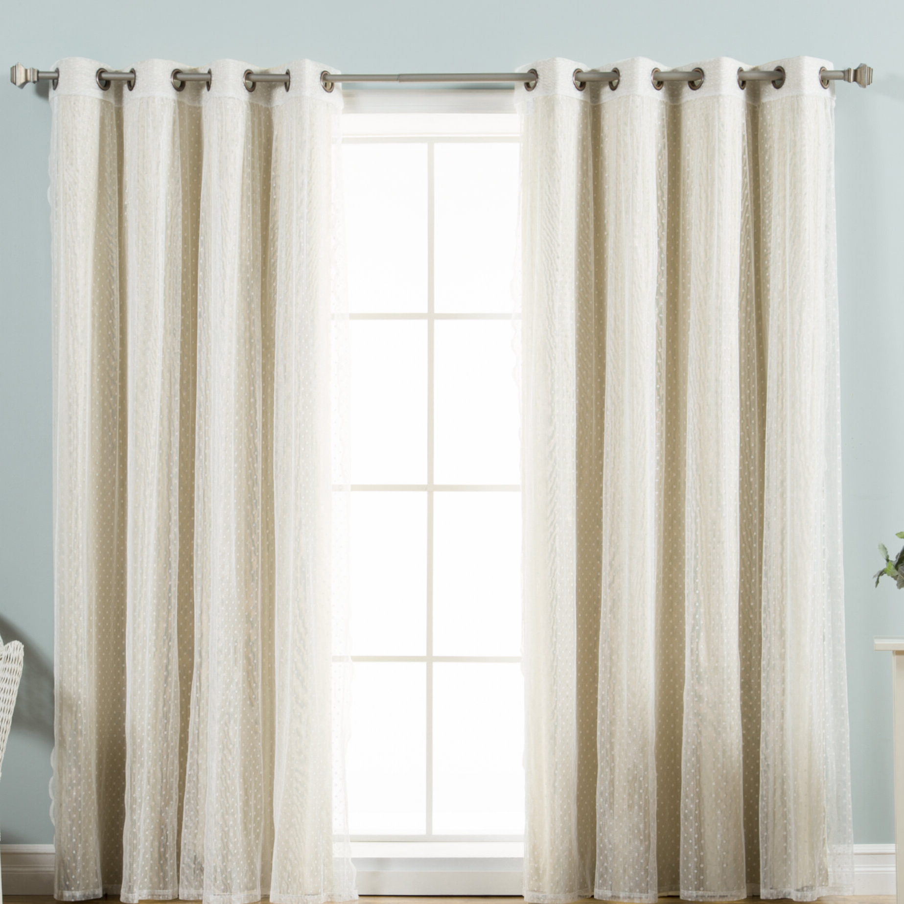 Trendy Mix & Match Blackout Tulle Lace Bronze Grommet Curtain Panel Sets Throughout Tulle Lace Polka Dots Blackout Thermal Grommet Curtain Panels (View 12 of 20)