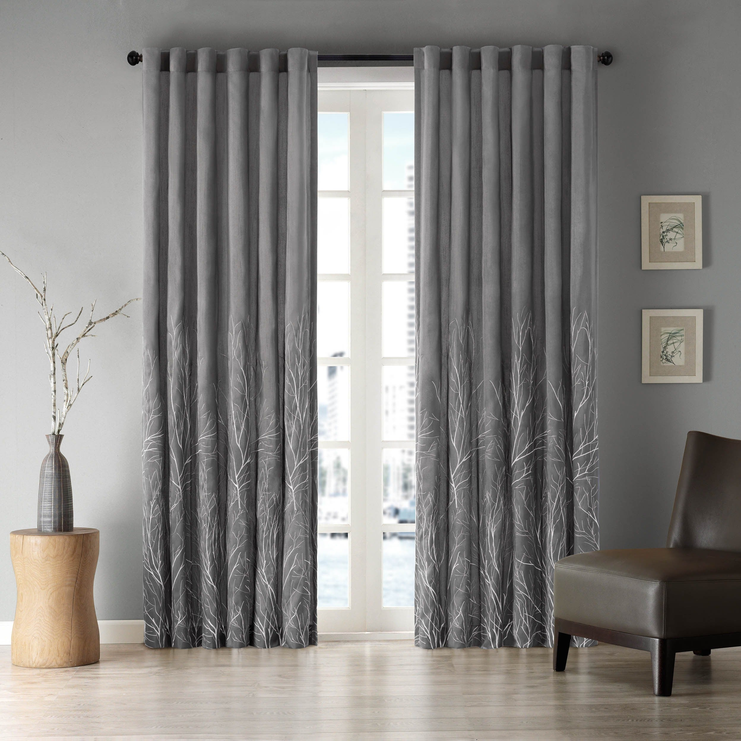Trendy Ofloral Embroidered Faux Silk Window Curtain Panels Throughout Porch & Den Mcclugage Embroidered Faux Silk Curtain Panel (View 19 of 20)