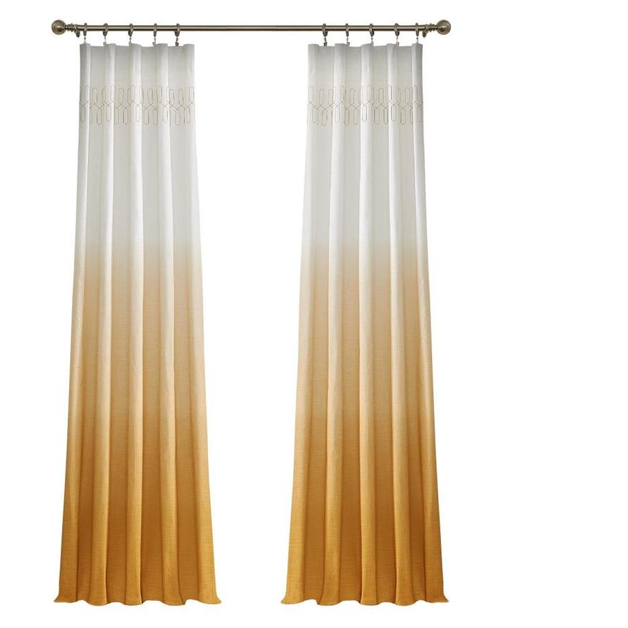 Trendy Ombre Embroidery Curtain Panels Within Vue Signature Arashi 84 In Gold Cotton Light Filtering (View 17 of 20)