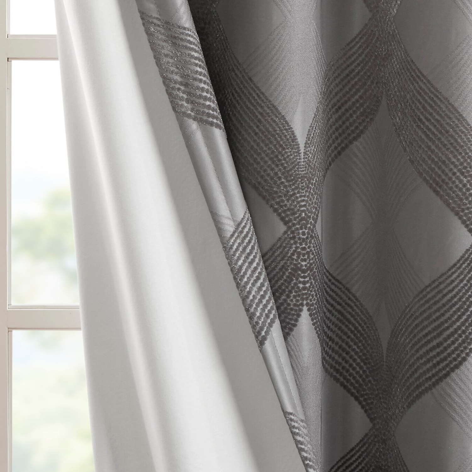 Trendy Sunsmart Abel Ogee Knitted Jacquard Total Blackout Curtain Panels Inside Sunsmart Abel Ogee Knitted Jacquard Total Blackout Curtain (View 12 of 20)