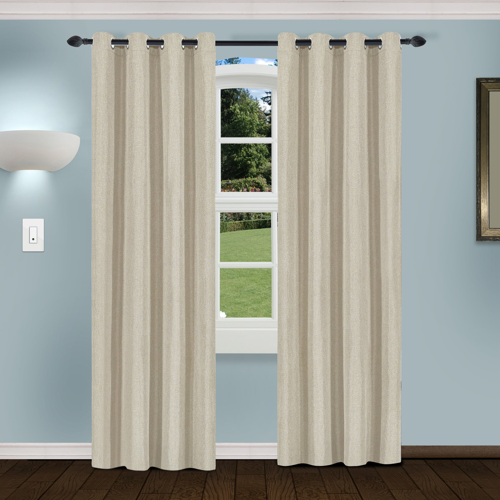 Trendy Superior Linen Insulated Thermal Blackout Grommet Curtain Panel Pair In Superior Solid Insulated Thermal Blackout Grommet Curtain Panel Pairs (View 19 of 20)