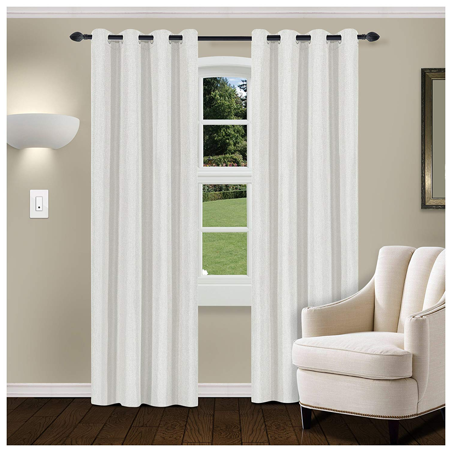 Trendy Thermal Insulated Blackout Curtain Pairs Regarding Superior Linen Textured Blackout Curtain Set Of 2, Thermal Insulated Panel Pair With Grommet Top Header, Classic Natural Look Room Darkening Drapes, (View 7 of 20)