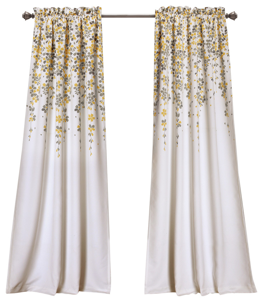 Trendy Weeping Flower Room Darkening Window Curtain Panels, Yellow/gray With Regard To Dolores Room Darkening Floral Curtain Panel Pairs (View 16 of 20)