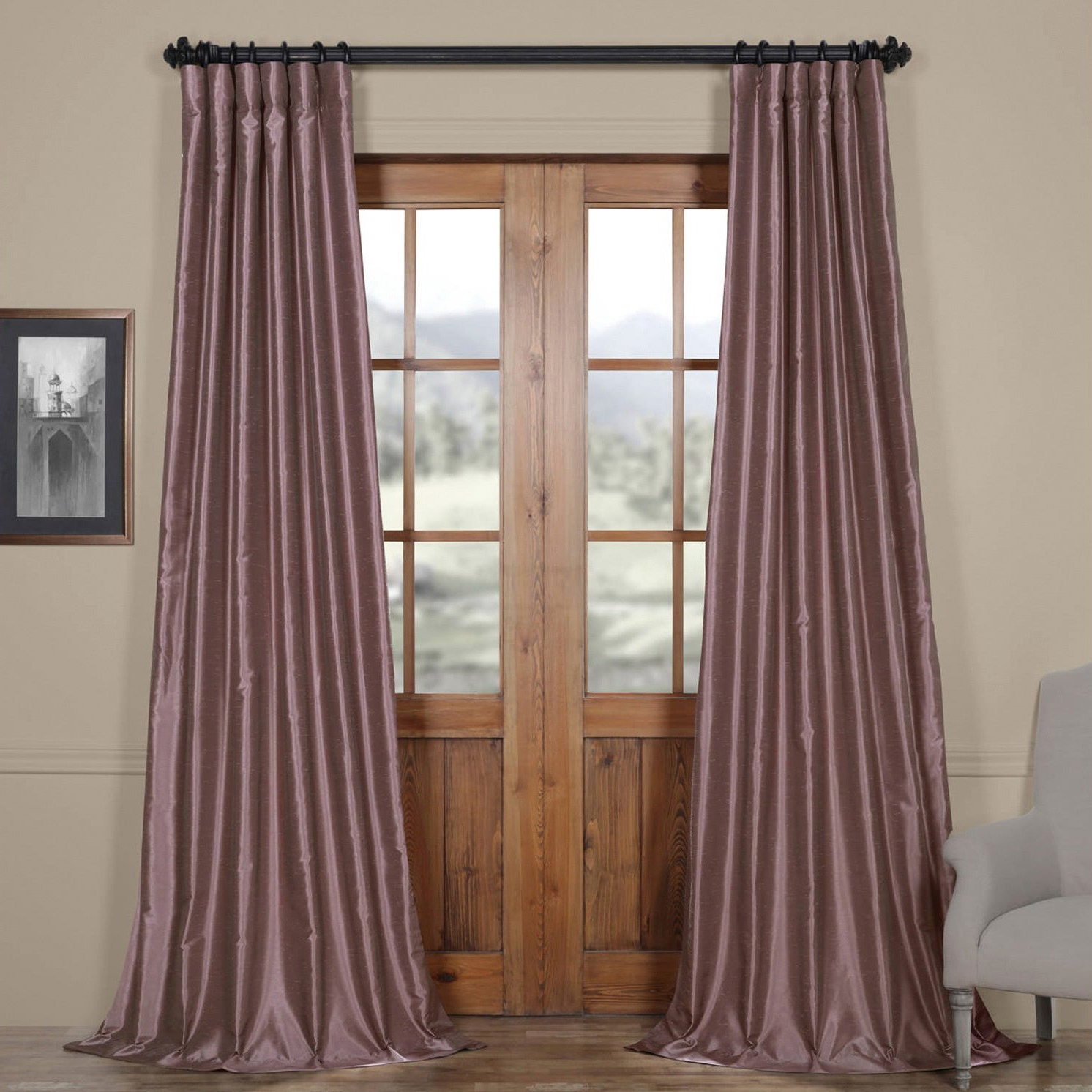 True Blackout Vintage Textured Faux Silk Curtain Panels Throughout Most Current Eff Smoky Plum Vintage Faux Dupioni Silk Curtain Panel (View 15 of 20)