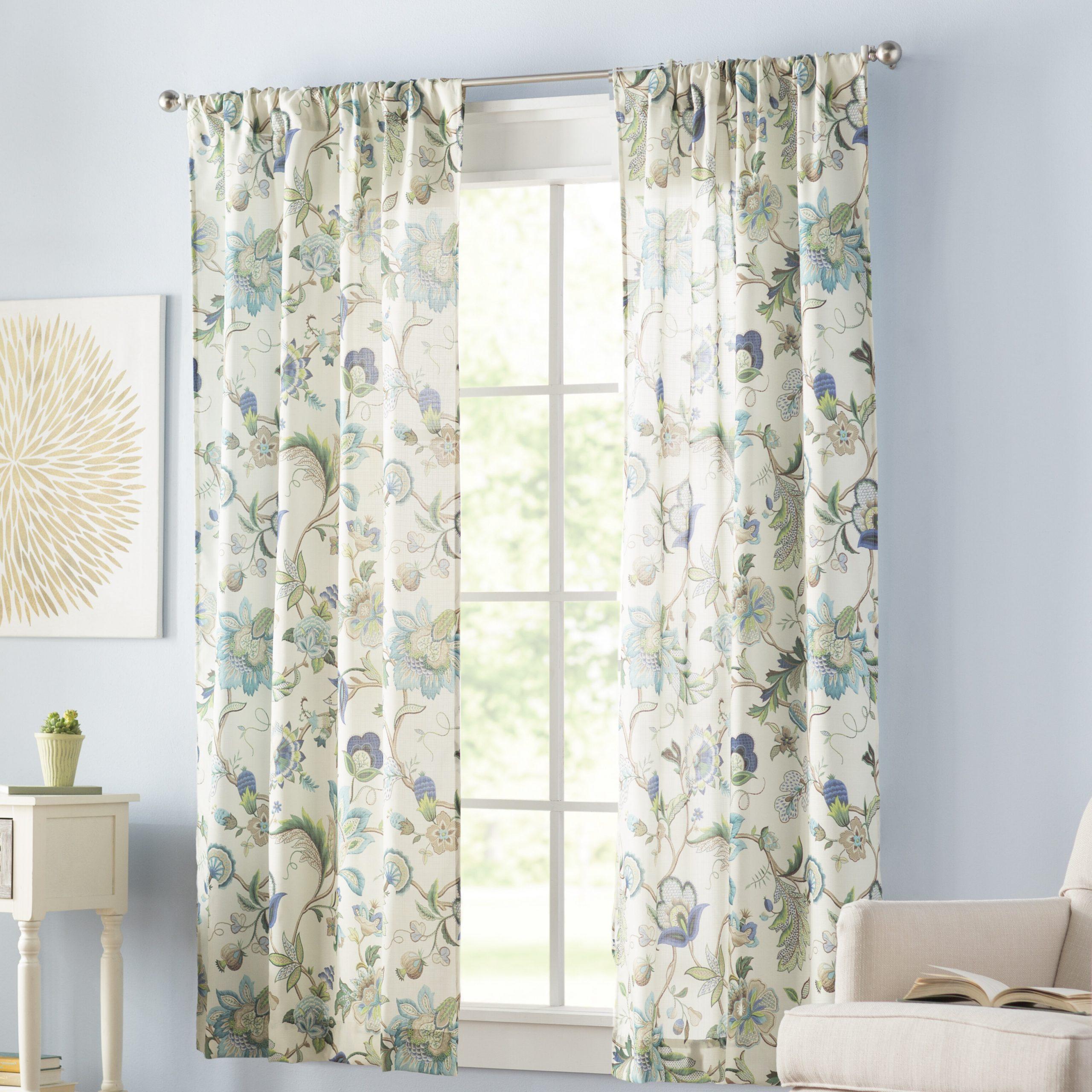 Tuckerman Floral/flower Rod Pocket Panel Pair Pertaining To Favorite Whitman Curtain Panel Pairs (View 17 of 20)