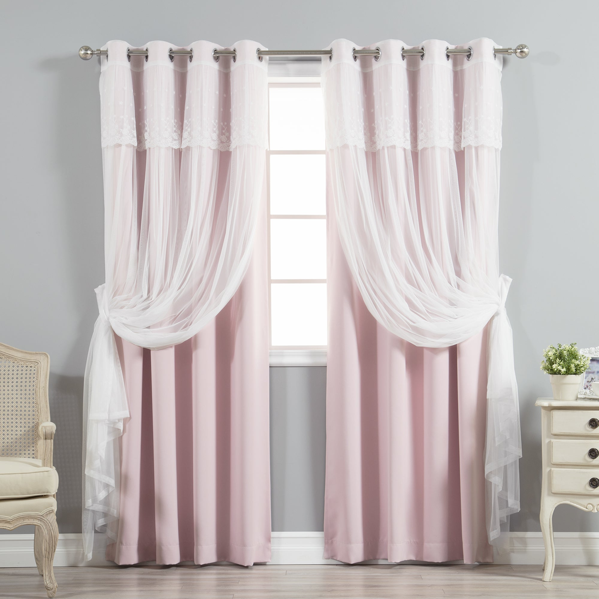 Tulle Sheer With Attached Valance And Blackout 4 Piece Curtain Panel Pairs Regarding Widely Used Aurora Home Mix & Match Tulle Sheer With Attached Valance And Blackout 4 Piece Curtain Panel Pair (View 3 of 20)