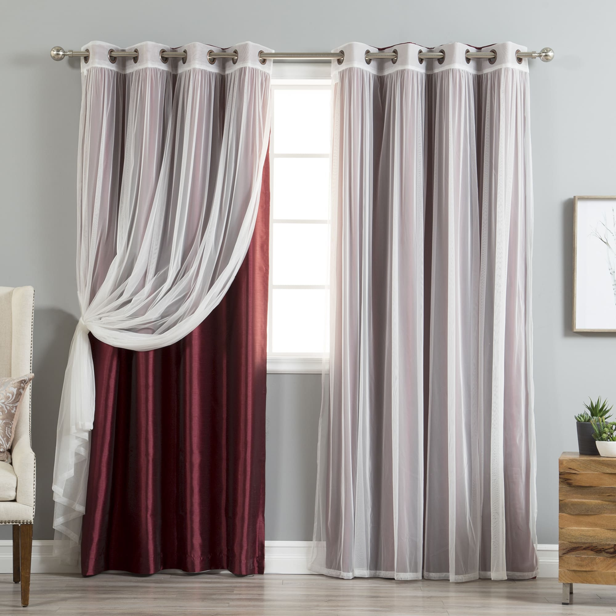 Tulle Sheer With Attached Valance And Blackout 4 Piece Curtain Panel Pairs With Regard To Widely Used Aurora Home Mix & Match Curtains Faux Silk Blackout Tulle (View 13 of 20)