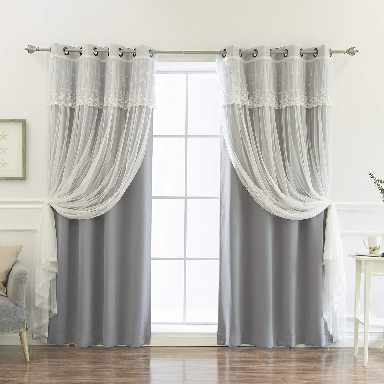 Tulle Sheer With Attached Valance And Blackout 4 Piece Curtain Panel Pairs With Well Liked Best Home Fashion Umixm Mix And Match Tulle Sheer With Attached Valance & Solid Blackout 4 Piece Curtain Set – Stainless Steel Nickel Grommet Top (View 11 of 20)