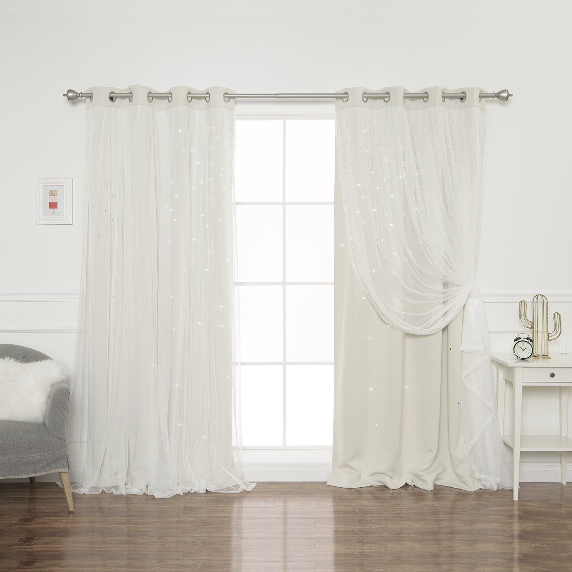 Tulle Sheer With Attached Valance And Blackout 4 Piece Curtain Panel Pairs Within Favorite Efird Tulle Overlay Star Cut Out Blackout Thermal Grommet Curtain Panel (View 20 of 20)