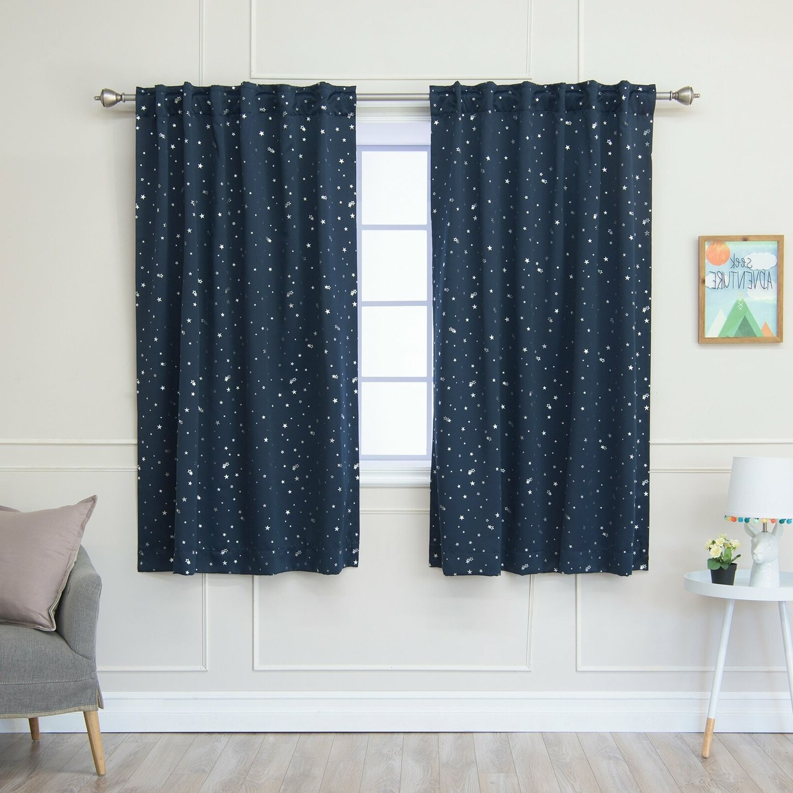 Tuscan Thermal Backed Blackout Curtain Panel Pairs Pertaining To Well Liked Aurora Home Star Struck Insulated Thermal Blackout 63 Inch Curtain Panel Pair – (View 10 of 20)