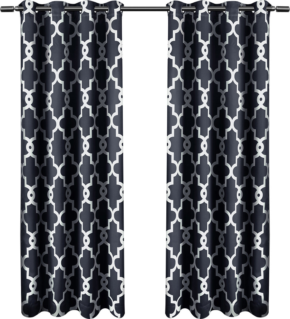 Tuscan Thermal Backed Blackout Curtain Panel Pairs Regarding Best And Newest Britain Ironwork Room Darkening Curtain Panels (View 13 of 20)