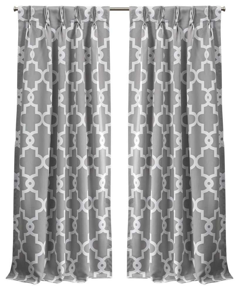 "Tuscan Thermal Backed Blackout Curtain Panel Pairs Regarding Famous Ironwork Sateen Woven Blackout Pinch Pleat Curtain Panel Pair, Silver, 84"" (View 15 of 20)"