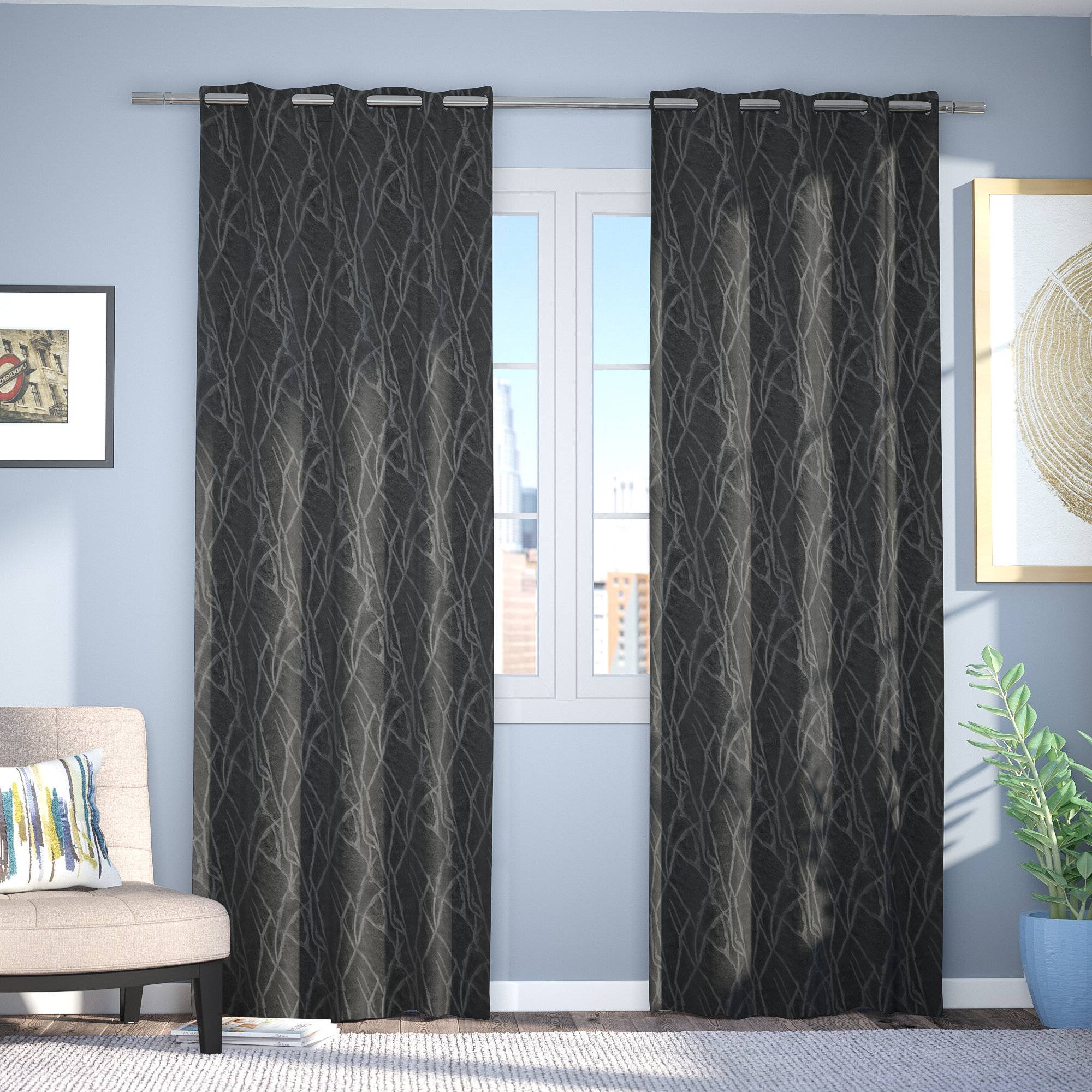 Twig Insulated Blackout Curtain Panel Pairs With Grommet Top For Newest Waut Floral Room Darkening Thermal Grommet Curtain Panels (View 20 of 20)