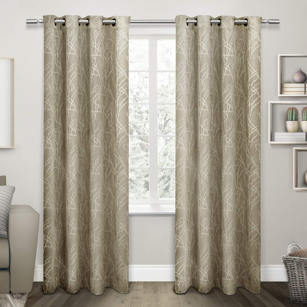 Twig Insulated Blackout Curtain Panel Pairs With Grommet Top Throughout Favorite Exclusive Home Twig Insulated Blackout Grommet Top Curtain Panel Pair, Taupe, 54x (View 2 of 20)