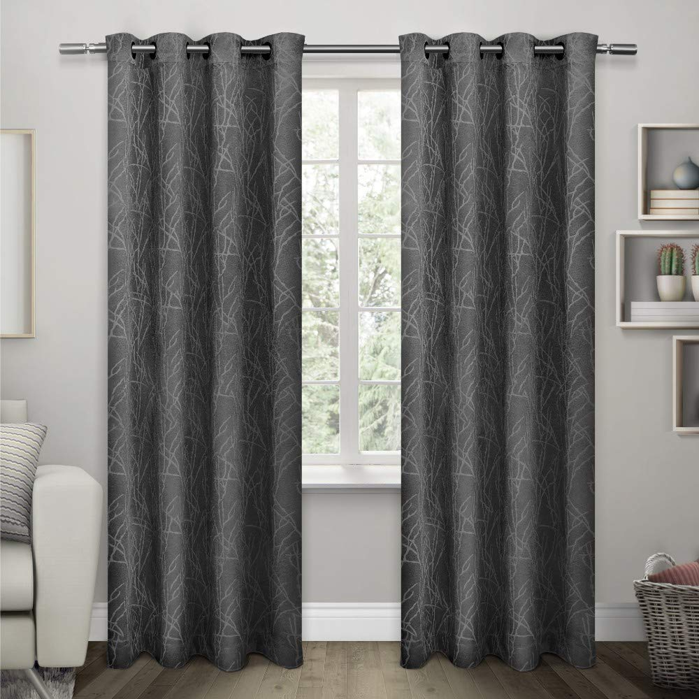Twig Insulated Blackout Curtain Panel Pairs With Grommet Top With Regard To Widely Used Exclusive Home Curtains Twig Insulated Blackout Window Curtain Panel Pair With Grommet Top, 54x108, Black Pearl, 2 Piece (View 3 of 20)