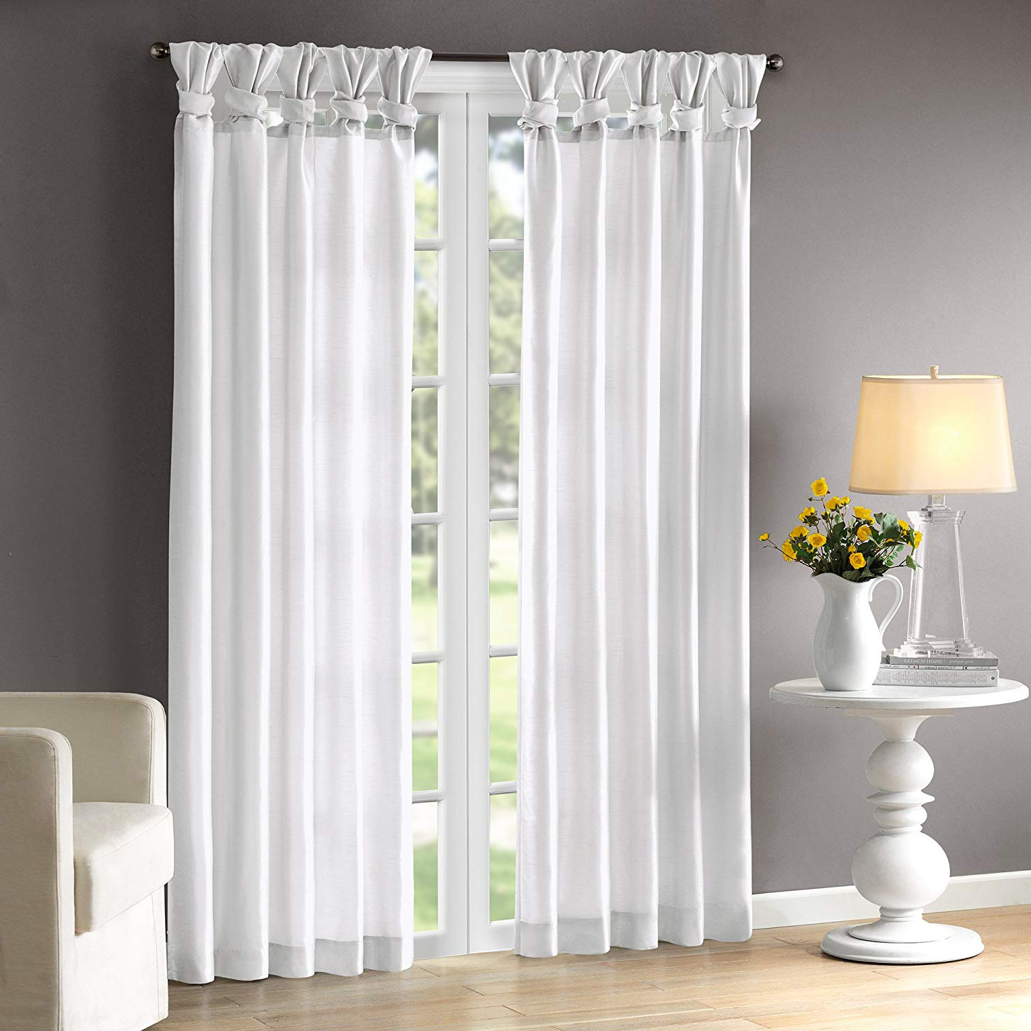Twisted Tab Lined Single Curtain Panels Intended For 2020 Madison Park Emilia Room Darkening Curtain Diy Twist Tab Window Panel Black Out Drapes For Bedroom And Dorm, 50x95, White (View 9 of 20)