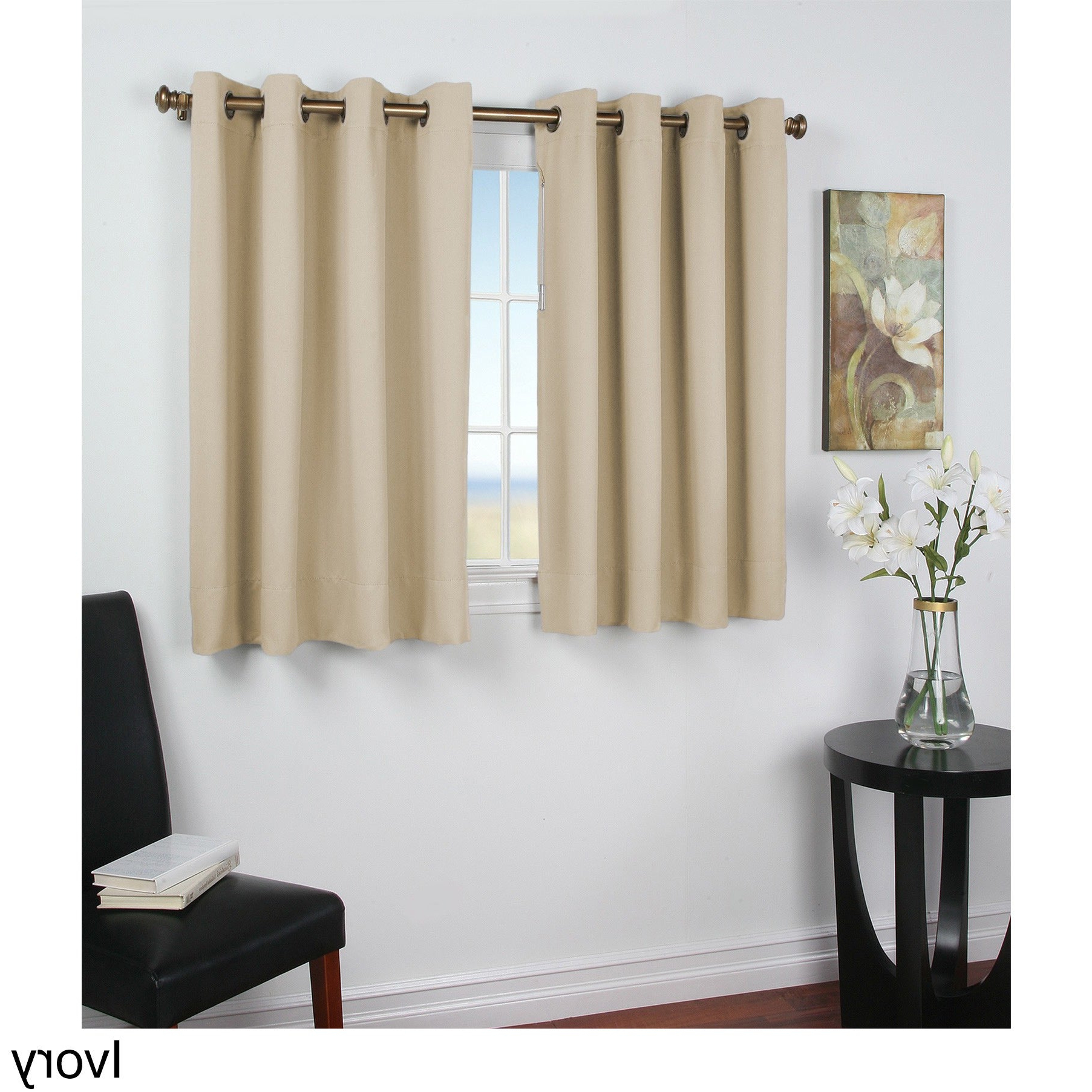 Ultimate Blackout Short Length Grommet Curtain Panels Intended For Widely Used Ultimate Blackout 45 Inch Short Length Grommet Curtain Panel (Gallery 2 of 20)