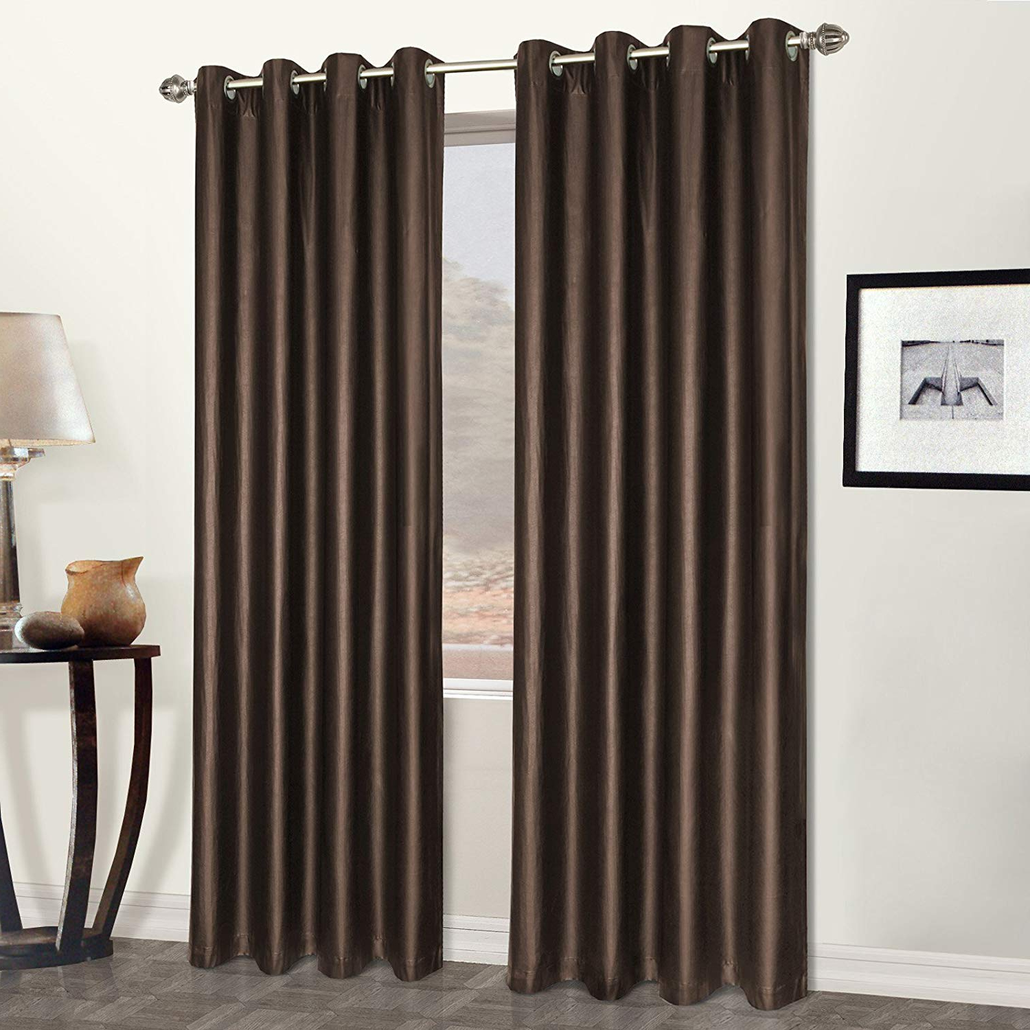 United Curtain Faux Leather Heavy Window Curtain Panel, 5284 Inch, Brown With Widely Used Luxury Collection Faux Leather Blackout Single Curtain Panels (View 19 of 20)
