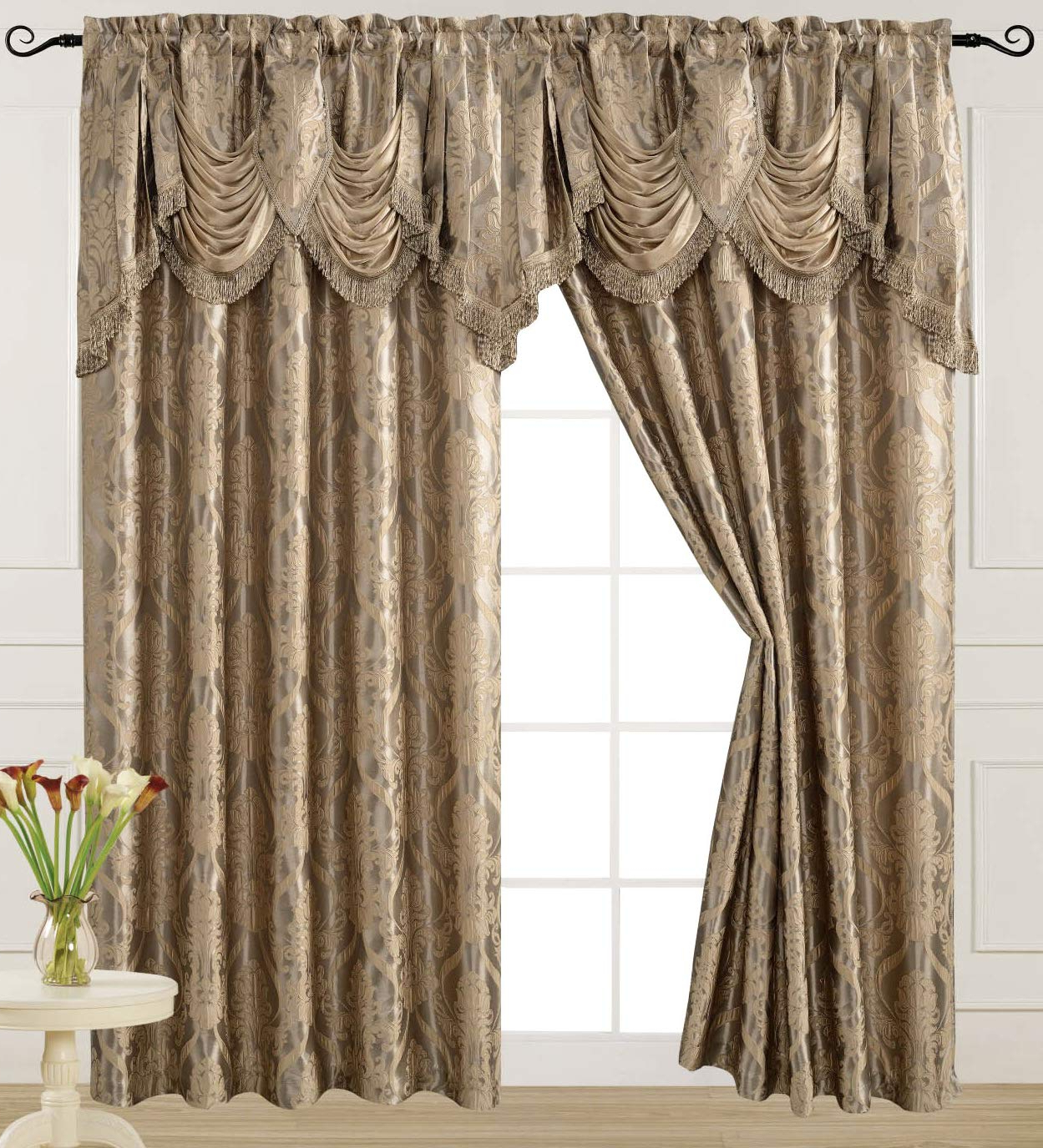 V Luxury Jacquard Curtain Panel With Attached Waterfall Valance, 54 84 Inch Ashley Light Taupe Regarding Popular Elegant Comfort Luxury Penelopie Jacquard Window Curtain Panel Pairs (View 8 of 20)
