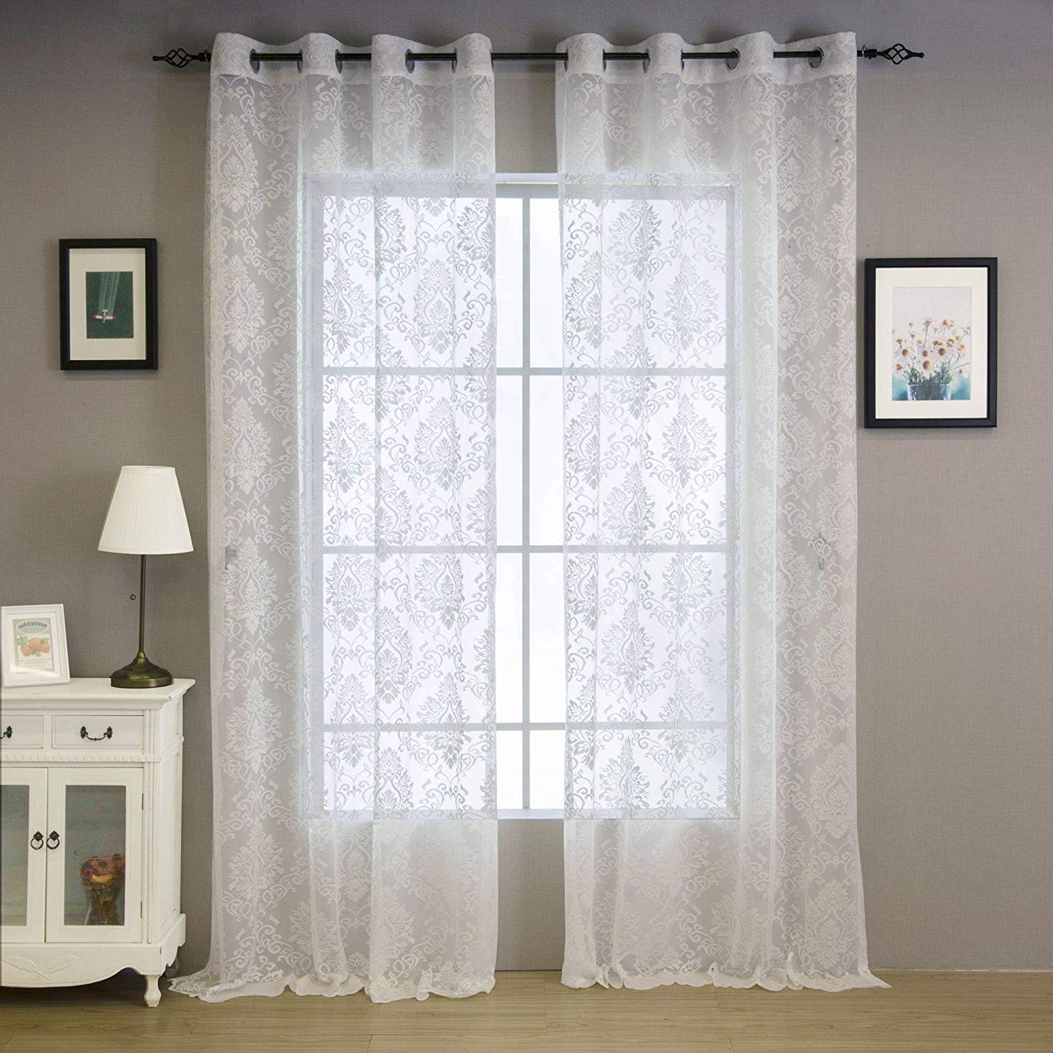 """Valea Home Lace Sheer Curtains Grommet Drapes For Bedroom Living Room  European Style, 54"""" X 96"""", White, 1 Panel Throughout Best And Newest Luxurious Old World Style Lace Window Curtain Panels (View 18 of 20)"""