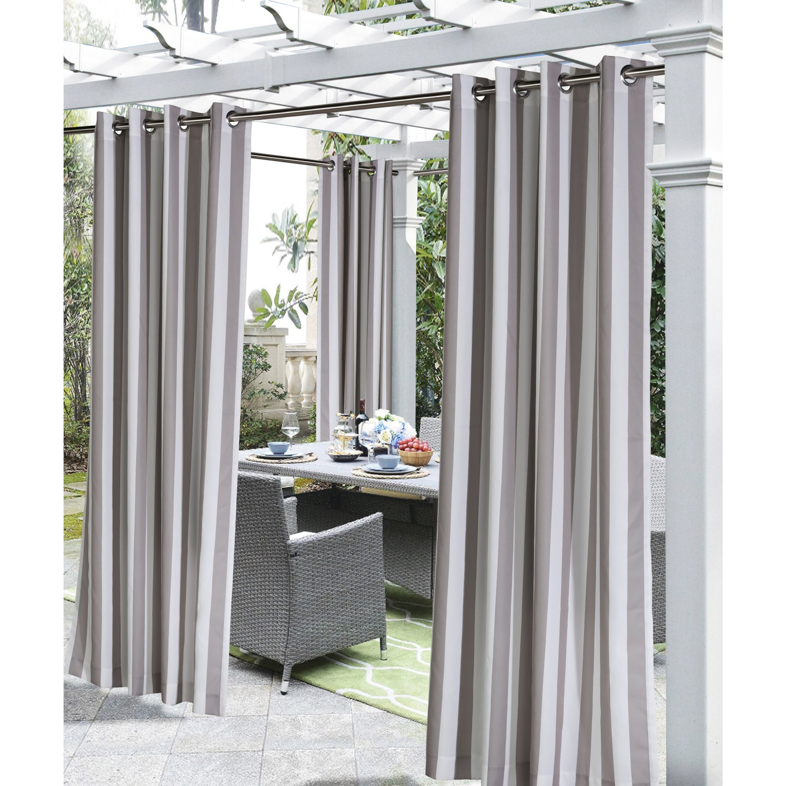 Valencia Cabana Stripe Indoor/outdoor Curtain Panels With Most Recently Released Commonwealth Home Fashions Coastal Stripe Grommet Top Panel (View 18 of 20)