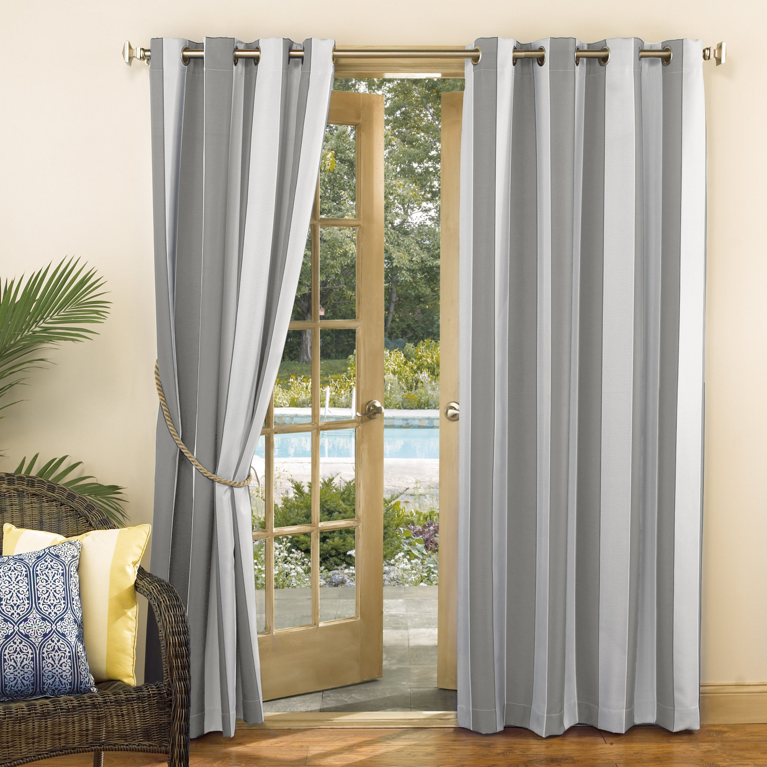 Valencia Cabana Stripe Indoor/outdoor Curtain Panels Within Most Popular Valencia Uv Protectant Cabana Striped Room Darkening Indoor/outdoor Grommet Single Curtain Panel (View 5 of 20)